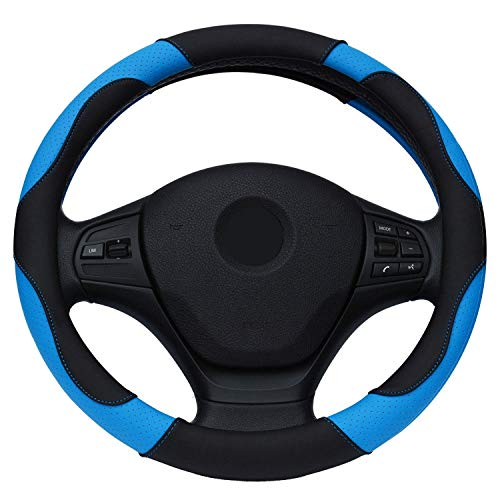 Ablaze Jin Housse de Volant en Cuir pour BMW Audi Ford Kia Mazda Solaris VW Golf Polo etc. Volant de 35,6 à 38,1 cm, Bleu