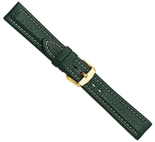Bio-Leder Uhrenarmband Kalbsleder XL Dunkelgrün 22359G, Stegbreite:20mm