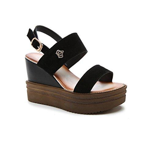 Cunha Femininas Sandálias Calcanhar Anti Confortáveis preto Couro Dar slide Fivela Leve Peep Nubuck toe Sapatos Plataforma De wXCrqxCAd