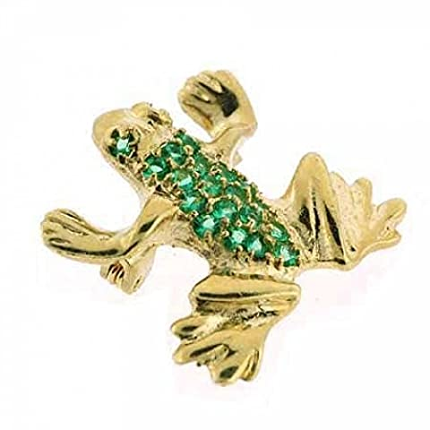 Vermeil (24k Gold over Sterling Silver) Dark Green cz Leaping