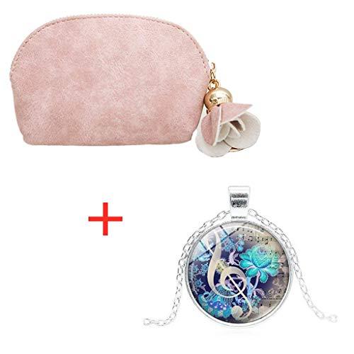 Mini Portemonnaie,Honestyi Damen Leder Kleine Süß Mini Brieftasche Holder Zip Geldbörse Clutch Handtasche Mini Portemonnaie Münze Brieftasche für Frauen Handgefertigtes Portmonee (Rosa) -