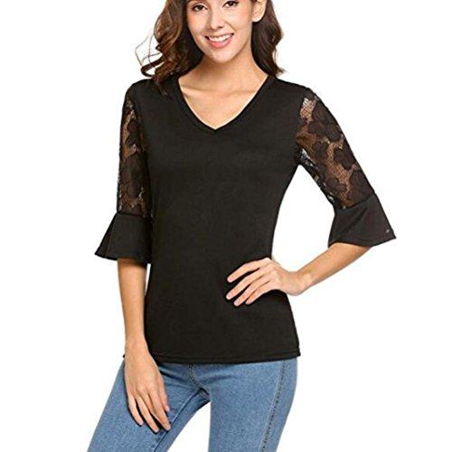 Tiffy Damen Bluse Elegant Sommer Spitze V-Ausschnitt Halbe Plain Flare Tee Tunika-Shirt