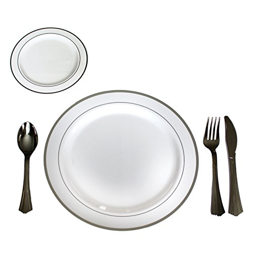 120pcs Plastic Disposable and Reusable Cutlery and Plate Set by Belle Vous - 24 Sets of Forks, Knives, Spoons and Small and Large Plates - Heavy Duty Set for Parties, Weddings and BBQ - Complete Utensil Kit