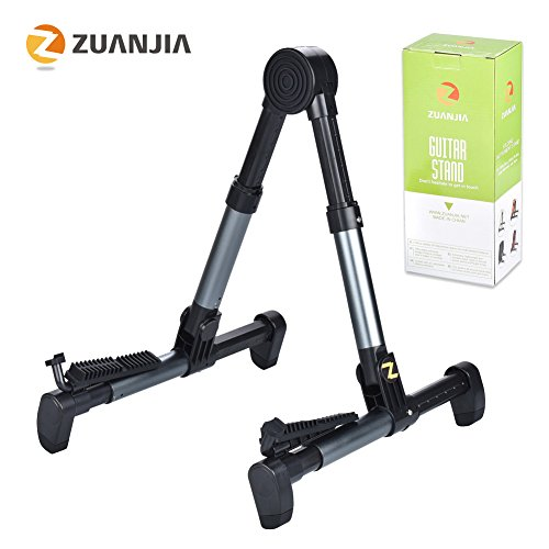 Zuanjia ZS-02 Guitar Stand for Acoustic/Electric/Classical Guitars and Violin, Ukulele, Bass, Banjo, Mandolin - Folding, Portable and Lightweight - Lifetime Warranty, Metal-blue
