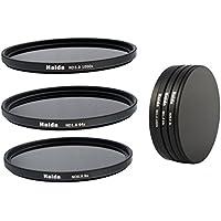 Ensemble de Filtres à densité neutre de filtres ND8, ND64, ND1000 de 67mm y compris un conteneur de filtres avec un dispositif de protection des filtres et des bouchons d'objectif Pro