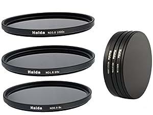 Ensemble de Filtres à densité neutre de filtres ND8, ND64, ND1000 de 72mm y compris un conteneur de filtres avec un dispositif de protection des filtres et des bouchons d'objectif Pro