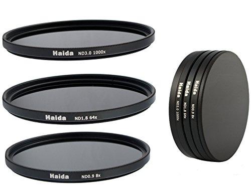 HAIDA Neutral Graufilter Set bestehend aus ND8, ND64, ND1000 Filtern 72mm inkl. Stack Cap Filtercontainer + Pro Lens Cap mit Innengriff