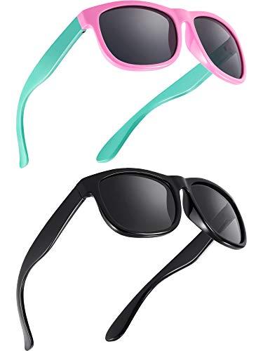Blulu 2 Stücke Kleinkind Sonnenbrille Gummi Flexibel Kinder Polarisiert Sonnenbrillen, Alter 2-10 (Farbe A)