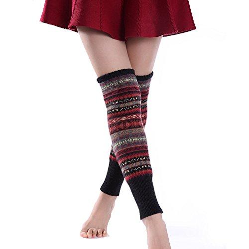 Butterme Art und Weisefrauen Knie hohe Socken Winter böhmische Stiefel Stulpe Strick Häkelarbeit Bein Wärmer (Stiefel Knie Hohe Für Socken)