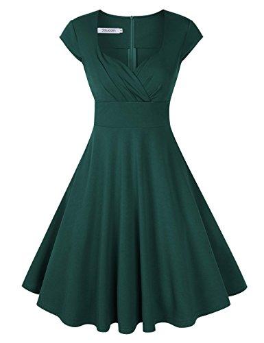 KOJOOIN Damen Vintage Kleid Cocktailkleid Abendkleid Ballkleid Rockabilly Taillenbetontes Kleid Knielang Dunkelgrün V-Ausschnitt XL