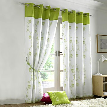Tahiti Lined Voile Eyelet Curtains Lime Green 56