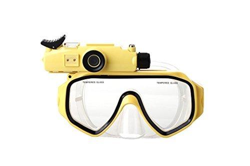 POWMAX Tauchmaske Kamera, ww-12HD 20m Unterwasser Sport Kamera Wasserdicht Tauchen Kamera Recorder Maske (gelb) (Uk Tauchen Licht)