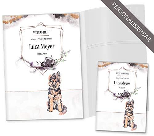 U-Heft Hüllen 3-teilig Set Cosmo Hunde Untersuchungsheft Hülle & Impfpasshülle schöne Geschenkidee personalisierbar mit Namen und Geburtsdatum (U-Heft Set 3-teilig personalisiert, Rex)