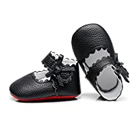 """HONGTEYA Baby Girls Red Bottom Ballet Dress Shoes - Mary Jane Soft Sole Sidebow Toddler Moccasins (0-6 Months/US 3.5/4.33""""/See Size Chart, Black)"""