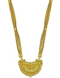 8147ff29d0 DzineTrendz Gold Plated Brass Curve Design Ethnic Long Mangalsutra Women  Traditioal Wedding Jewellery MSSK2339