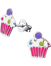 JAYARE® pendientes para niña Muffin Cupcake 9 x 8 mm Esmalte plata de ley 925 multicolor con la caja niños