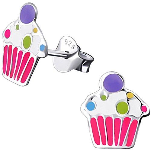 JAYARE Kinder-Ohrstecker Muffin Cupcake 925 Sterling Silber Emaille rosa pink weiß 9 x 8 mm Mädchen-Ohrringe