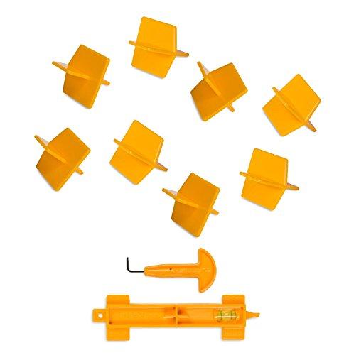 Preisvergleich Produktbild 'Uniplug' ProSpacer Fliesen-Kit, mit 50x wiederverwendbaren 2mm Premium-Fugenkreuzen, nützlich, langlebig, Ordnen und Richten von Fliesen (um Ecken), inkl. einzigartigem Multifunktions-Werkzeug und J-Haken Fliesen-Richter / Kernbohrer, Gelb
