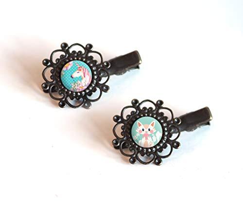 2 Haarspangen, Cabochon 12 mm, Einhorn, Katze, Pastell, rosa und blaue Töne