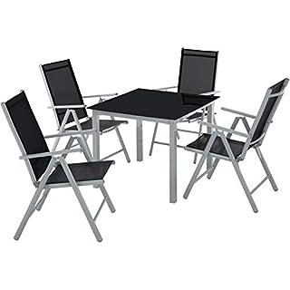 TecTake Aluminium 4+1 Salon de Jardin Ensemble sièges Meubles Chaise Table en Verre - diverses Couleurs au Choix - (Gris Argent   no. 402169)