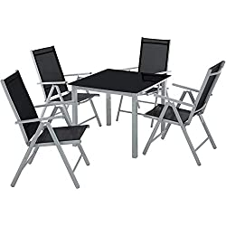 TecTake Aluminium Sitzgarnitur 4+1 Sitzgruppe Gartenmöbel Tisch & Stuhl Set - Diverse Farben - (Silber grau | Nr. 402169)