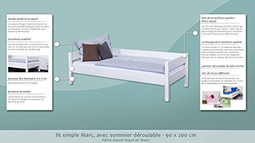 Single bed Marc, solid beech wood, white painted, incl. slatted frame - 90 x 200 cm