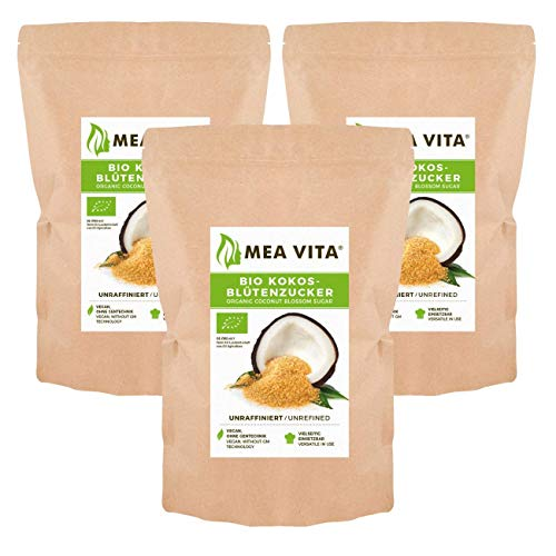 MeaVita Bio Kokosblütenzucker, unraffiniert, 3er Pack (3x 1000g) im Beutel