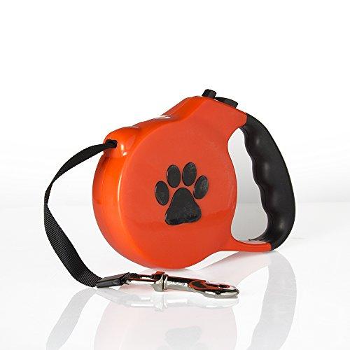 Fuß-behandlungs-system (Geartist PL01Flexible Hundeleine 16Füße für Mittel Große Hunde bis 50kg (50kg), Einfach Break & Lock, Perfekt für Pet Hund Tägliche Training, Orange)