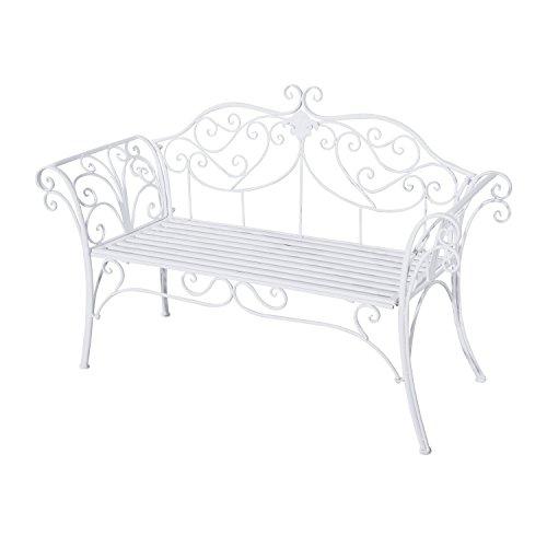 Outsunny Gartenbank, Metall, weiß, 134 x 51 x 89 cm, 840-053