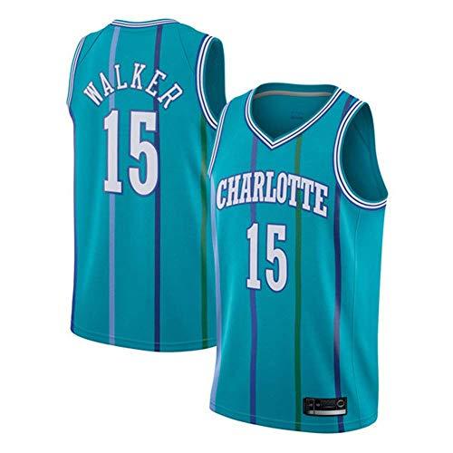 XH-Sport Herren Trikot, NBA Charlotte Hornets 15# Walker Basketball Fan T-Shirt, Cooles atmungsaktives Gewebe Retro Besticktes Mesh Swingman Ärmellose Sportoberteile,Blue,S(170CM/50~65Kg)