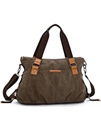 Covelin Women'S Casual Travel Bag Large Capacity Canvas Tote Shoulder Handbag Brown