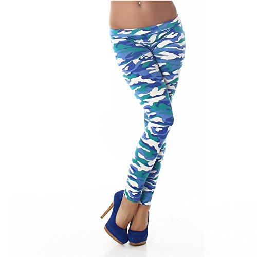 PF-Fashion Damen Leggings Leggins Body Slim Hose Karotte Lang Design Tapered Tarnmuster Blumen Batik Blau F9368