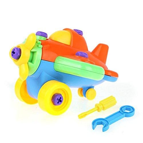 Demontage Montage,Stillshine- Spielzeug Karikatur Tierpuzzlespiel DIY Spielzeug mit Werkzeug Pädagogisches Kinderspielzeug ab 345 Jahren Alt (Farbe zufällige Lieferung) (Flugzeug)
