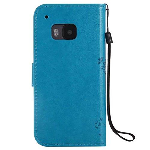 HTC M9 Case Cover, Embossing gepresste Blumen Katze und Baum Muster Solid Color PU-Leder Tasche weichen Silikon-Cover Flip-Stand Geldbörse mit Lanyard für HTC M9 ( Color : 3 , Size : HTC M9 ) 9