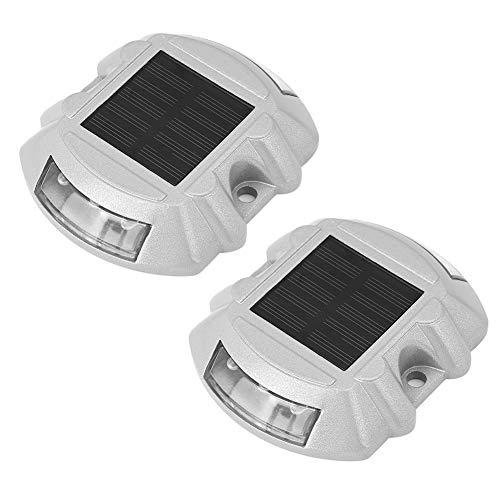Solar Deck Sicherheitsleuchten - Solar Dock und Einfahrt Wegleuchten, wetterfeste Solar Road Stud Lights ohne Verkabelung, gelb (2er-Pack) - Stud Installation Tool