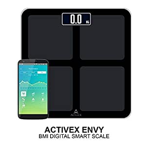 ActiveX (Australia) Envy Bluetooth BMI Scale With Free Weight Tracking App With 8Mm Tempered Glass Weighing Scale 5-180Kg Range (Black) **This Is Not A Body Fat Scale**