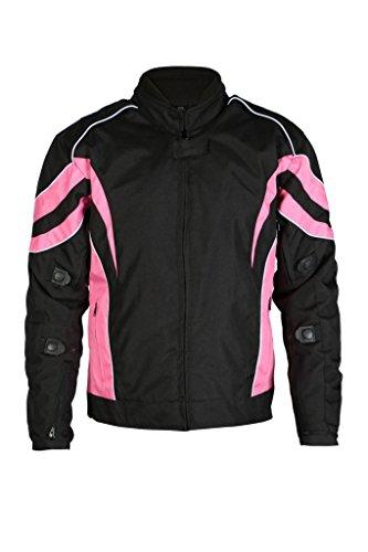 Turin - Damen Motorradjacke - wasserdichter Cordura-Stoff - schwarz - Größe 52 - Brustumfang 125,5cm