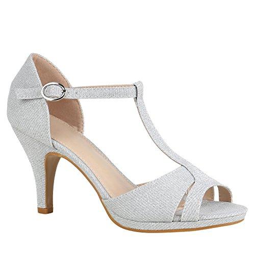 Stiefelparadies Damen Schuhe Riemchensandaletten Sandaletten High Heels Glitzer 156073 Silber Carlet 40 Flandell