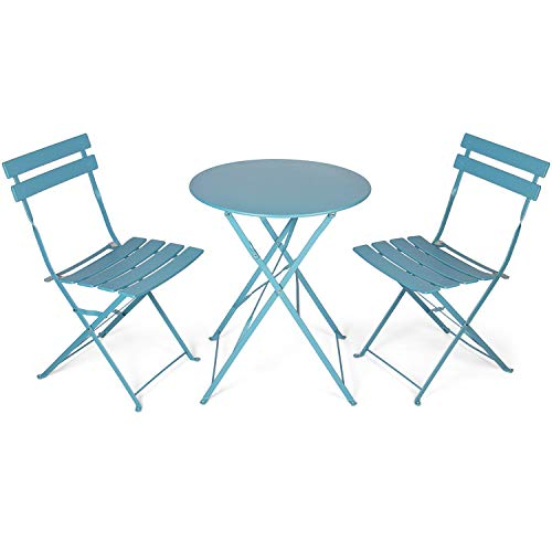Vanage Bistro Balkon Set in grau / blau - Balkontisch und Balkonstühle sind zusammenklappbar - Gartenmöbel Set ist 3 teilig - geeignet für Garten, Terrasse und Balkon | Garten > Balkon > Balkontische | Graublau | Stahl | Vanage