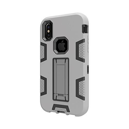 iPhone X Custodia, MOONMINI 3 in 1 Hybrid Armor Case Dual Layer Heavy Duty Antiurto Slim fit Antigraffio Non-slip Full Body Protettiva Custodie Shell with Kickstand per iPhone X Grey+ Ne