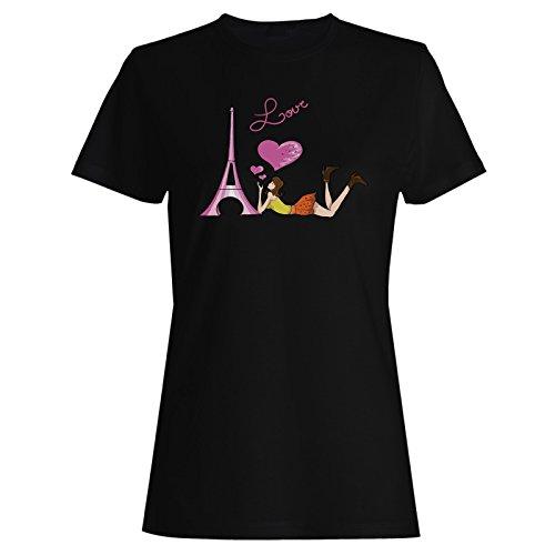 Viaggio A Parigi Francia Bonjour L'Amour Mondo Di Viaggio t-shirt da donna tt47f Black