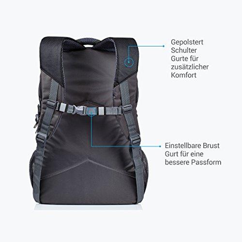 Rucksack für Herren und Damen von Camden Gear. Schulrucksack – Laptoprucksack für die Schule – Laptop – Wandern. Wasserdicht, Top mit mehreren Fächern. Schwarz und Grau - 5