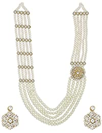 Zaveri Pearls Royal Look Long Pearls Necklace Set For Women-ZPFK6369