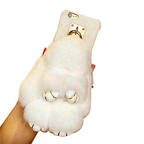 Rubility®Carino il morto coniglio coniglio portachiavi borsa decorazione del cellulare Ciondolo auto ornamento della bambola della peluche pigro coniglio per il Natale, i regali di compleanno (iphone 7plus, bianca)