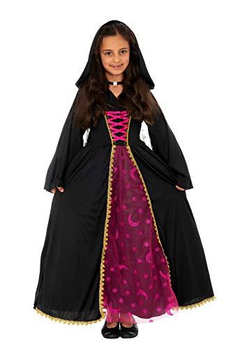 Magicoo Mondkönigin Hexenkostüm Kinder Mädchen schwarz-pink inkl. Kleid mit Kapuze & Halskette - Gr 110 bis 140 - Halloween Vampir-Kostüm Kinder (122/128) (Kapuzen Kleid Kind Kostüm)