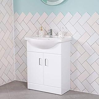 Aquariss Badmöbel Badezimmermöbel Waschbecken Unterschrank Freistehend 650mm Weiß