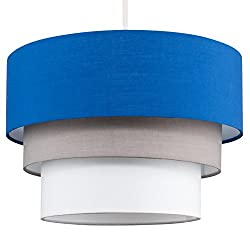Beautiful Round Modern 3 Tier Blue, Grey and White Fabric Ceiling Designer Pendant Lamp Light Shade
