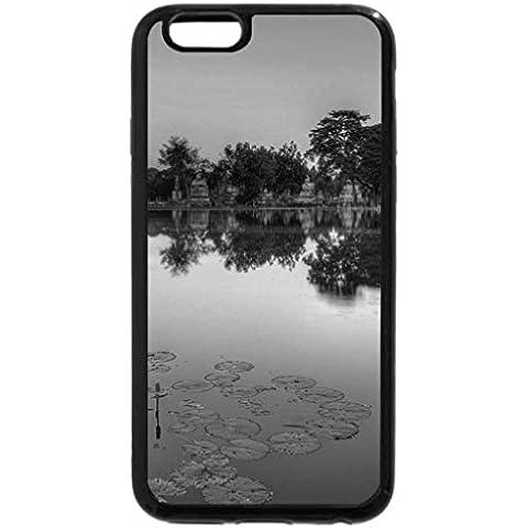 6S iPhone, iPhone 6 (& nero, bianco a fiori su un lago a un tempio in Thailandia