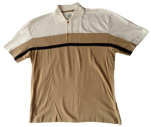 Zweifarbiges Herren Polo-Shirt in luftig leichter Jersey-Baumwoll-Qualität, Farbe Ecru/Beige, Größe L Ecru/Beige