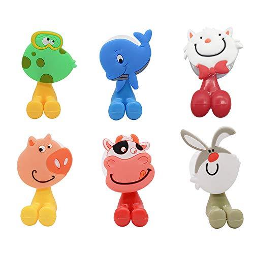 Kinder Zahnbürstenhalter mit Saugnapf für Wandmontierte Badezimmer 6 Set (6PCs Tiere)